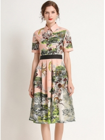 Modern Lady High Waist Printings Shirt A-line Dress