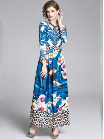 Fashion Charming Leopard Flowers Shirt Maxi Dress