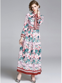 Pretty Europe Tie Collar Flowers High Waist Maxi Dress