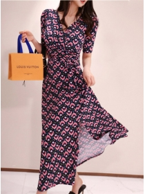 Wholesale Korea Tie Waist V-neck Split Flowers Dress