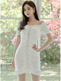 Pretty Lady Boat Neck Ties Hollow Out Bodycon Dress