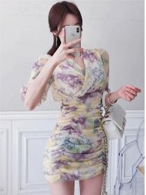 Summer Fashion V-neck Pleated Flowers Chiffon Dress