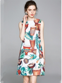 Europe Stylish Round Neck Printings Tank A-line Dress