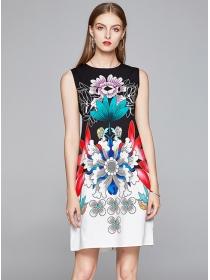 Europe Stylish Flowers Printings Round Neck Tank Dress