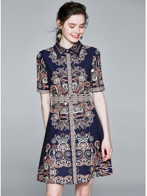Europe Retro Flowers Printings Shirt A-line Dress