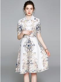 Europe Charming Shirt Collar Flowers A-line Dress