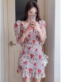 Korea Partysu Stretchable Pleated Flowers Fishtail Dress