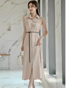 Summer OL Single-breasted Shirt Collar Tank Long Dress