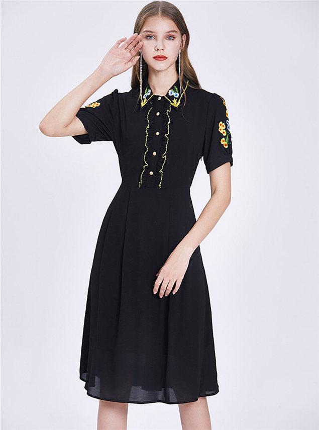 Retro Fashion Embroidery Shirt Collar A-line Dress