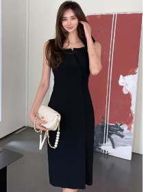 Modern OL Double-breasted Bodycon Sleeveless Dress