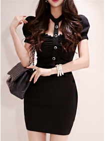 Korea OL Single-breasted Bust Hollow Out Slim Dress