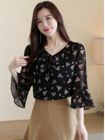 Fashion Lady 2 Colors Flouncing Collar Flare Sleeve Blouse