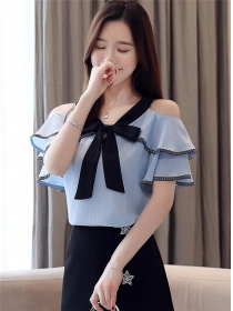 Korea Wholesale 2 Colors Off Shoulder Flouncing Blouse