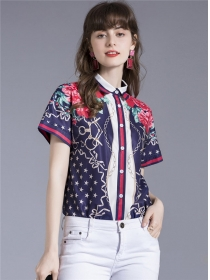 Europe Wholesale Stars Flowers Short Sleeve Blouse