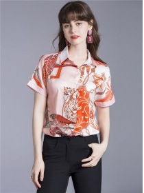Retro Wholesale 2 Colors Flowers Short Sleeve Blouse