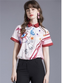 Wholesale Europe Flowers Short Sleeve Loosen Blouse