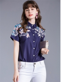 Summer New 2 Colors Flowers Single-breasted Blouse