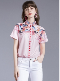 Retro Summer Fashion 2 Colors Flowers Short Sleeve Blouse