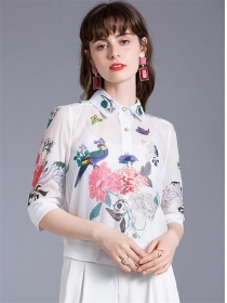 Pretty Lady Flowers Transparent Blouse with Camisole