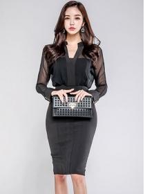Modern OL V-neck Backless Fitted Waist Slim Dress