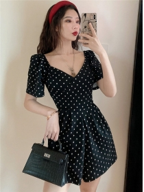 Wholesale Korea V-neck Dots Wide-leg Short Jumpsuit