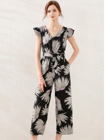 Europe Summer Elastic Waist Flowers Wide-leg Jumpsuit