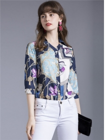 Europe Charming Flowers Printings Mid-sleeve Blouse