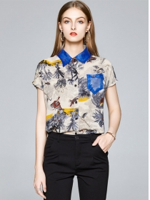 Europe Stylish Ink Flowers Short Sleeve Blouse