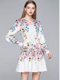 Charm Lady Round Neck Flouncing Flowers Puff Sleeve Dress