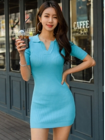 Wholesale Korea 2 Colors V-neck Slim Knitting Dress