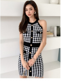 Summer New Single-breasted Houndstooth Knitting Dress