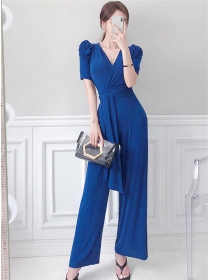 Modern Lady Tie Waist V-neck Puff Sleeve Long Jumpsuit