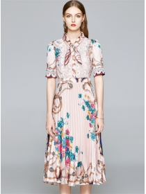 Grace Charming Tie Collar Flowers Pleated Long Dress