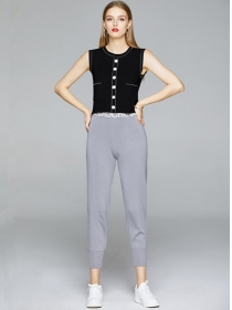 Summer Wholesale Single-breasted Knitting Leisure Suits