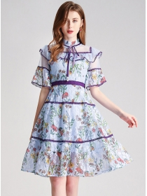 Pretty Lady Stand Collar Flouncing Lace Flowers Dress