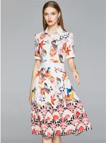 Charming Summer Shell Printings Shirt Collar A-line Dress