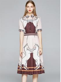 Vogue Lady Shirt Collar Unicorn Printings Long Dress