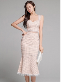 Grace Sexy Lace Fishtail Plaids Straps Slim Dress Set