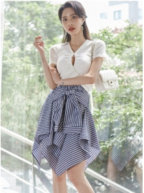 New Hollow Out Cotton Tops with Stripes Flouncing Skirt