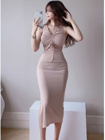 Wholesale 3 Colors Draw-string Bust Skinny Cotton Dress