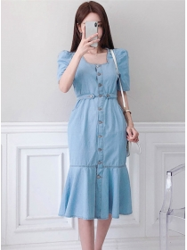 Quality Fashion Single-breasted Fishtail Denim Dress
