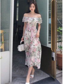 Fresh Fashion Flouncing Boat Neck Flowers Maxi Dress