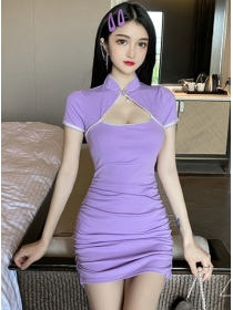Korea Sexy 2 Colors Beads Bust Hollow Out Slim Dress