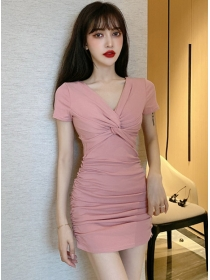 Modern Lady 2 Colors Twisted V-neck Pleated Dress