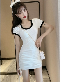 Preppy New 2 Colors Draw-string Pleated Cotton Dress