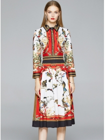 Europe Wholesale 2 Colors Shirt Collar Flowers Dress