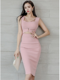 Sexy Korea Square Collar Hollow Out Slim Tank Dress