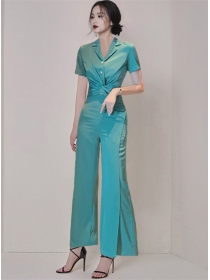 Elegant Lady Twisted Waist Blouse with Straight Long Pants