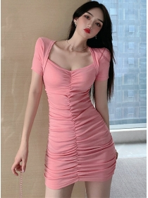 Wholesale Korea 2 Colors Square Collar Pleated Dress