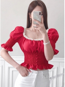 Summer New Square Collar Flouncing Puff Sleeve Blouse